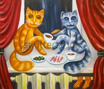 Posters Dîner de chat romantique. Un chat et une chatte ensemble dînent sur le rebord de la fenêtre. Animaux domestiques à l'intérieur de l'appartement. Peinture à l'huile. Illustration à la main.