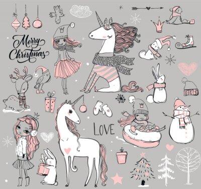 Posters Doodle princesse avec licorne