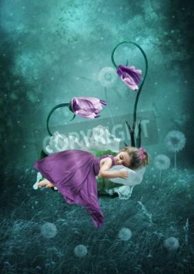 Posters Dormir, peu, girl, magique, forêt
