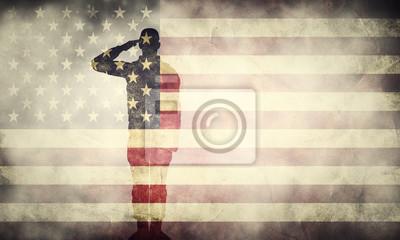 Posters Double, exposition, saluer, soldat, USA, grunge, drapeau Conception patriotique