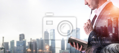 Posters Double Exposure Image of Business Person on modern city background. Future business and communication technology concept. Surreal futuristic cityscape and abstract multiple exposure graphic interface.