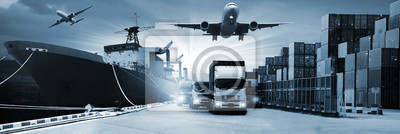 Posters Double exposure of  logistic network distribution on background and Logistics Industrial Container Cargo freight ship for Concept of fast or instant shipping