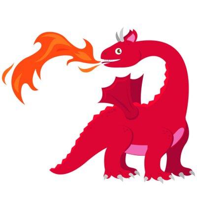 Posters Dragon respirant feu