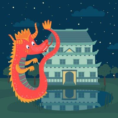 Posters Dragon rouge mignon à côté d'un château dans la nuit, histoire de conte de fées pour les enfants vector Illustration
