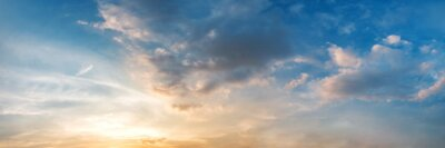 Posters Dramatic panorama sky with cloud on sunrise and sunset time. Panoramic image.