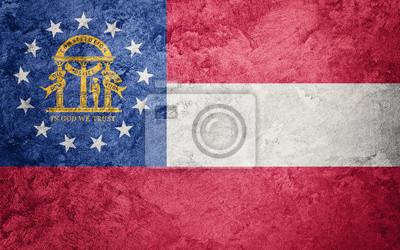 Posters Drapeau d'état de Grunge en Géorgie. Texture de grunge de fond de drapeau de la Géorgie.