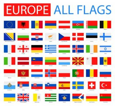 Posters Drapeaux de l'Europe - Collection complète de vecteur. Vecteur, ensemble, plat, européen, drapeaux.