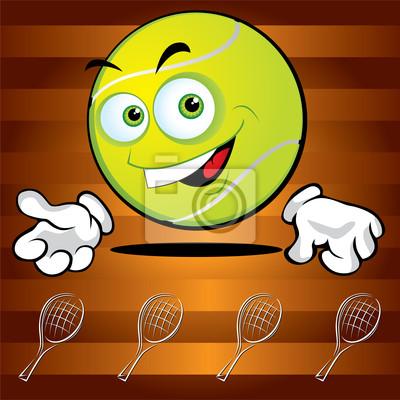 Drôle souriant balle de tennis