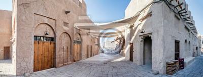 Posters DUBAI, UAE - December 13: View of traditional arabic buildings at Al Fahidi Historical District, Bastakiya