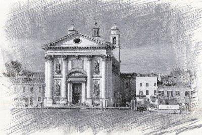 Posters Église Santa Maria del Rosario en Italie, Venise. Esquisser