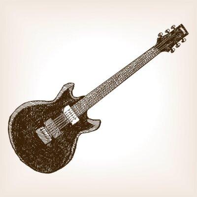 Posters Électrique, guitare, main, dessiné, croquis, Style, vecteur