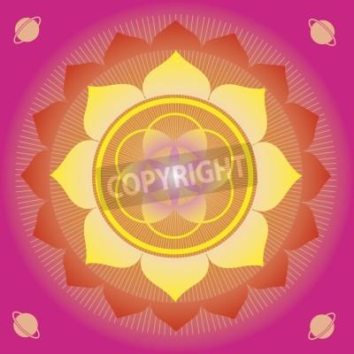 Posters éléments et mandalas de fleurs avec sens ésotérique pour la pratique du yoga et de la conception pour la santé et le bien-être