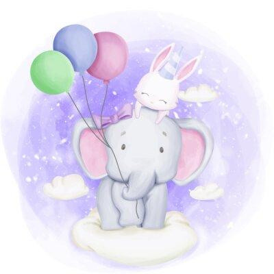 Posters Elephant and Rabbit Celebrate Birthday