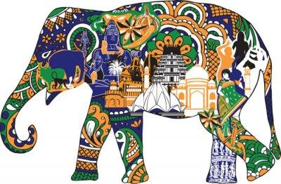 Posters éléphant avec des symboles indiens