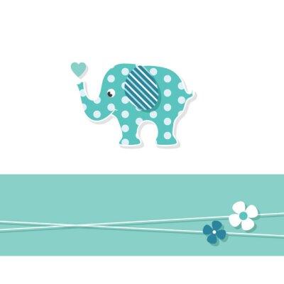 Posters Éléphant bleu bébé carte de voeux