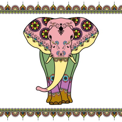 Posters Éléphant de couleur avec des éléments de frontière dans le style ethnique de mehndi. Vecteur, noir, blanc, Illustration, isolé, blanc, fond