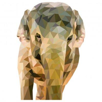Posters Elephant de triangles formés sur un fond blanc dans le format carré