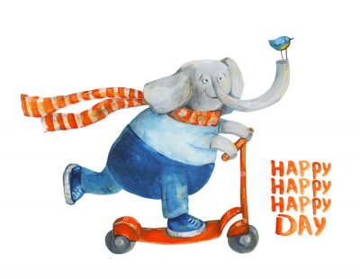 Posters Éléphant, scooter, oiseau Bonne journée. Aquarelle et gouache Illustration