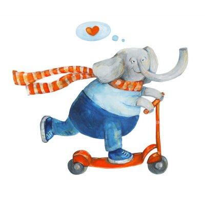 Posters Éléphant sur le scooter avec le coeur. Amour. Aquarelle et gouache Illustration