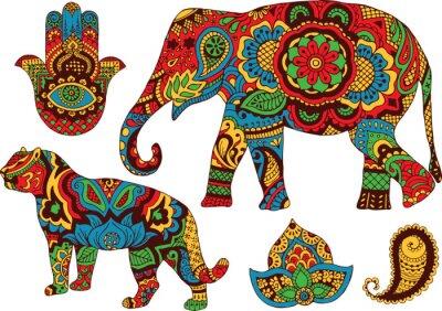 Posters éléphant, tigre, Butt et de lotus, peints à la main dans le style de mehendi