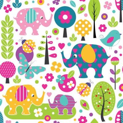Posters Éléphants mignons, coccinelles, papillons et oiseaux dans un modèle coloré de forêt