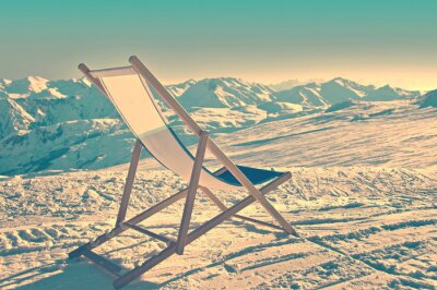Posters Empilé, chaise longue, côté, ski, pente, vendange, processus