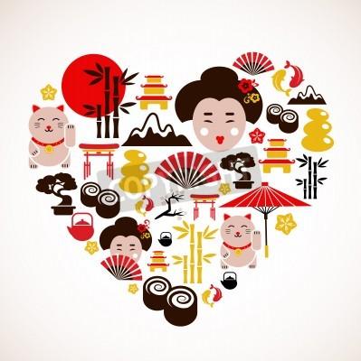Posters En forme de coeur avec des icônes Japon