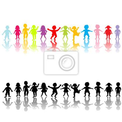 Enfants heureux silhouettes