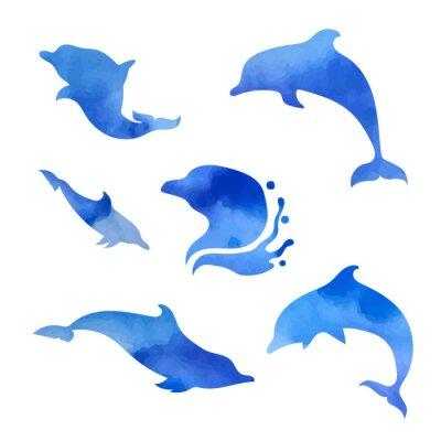 Posters Ensemble, aquarelle, dauphins