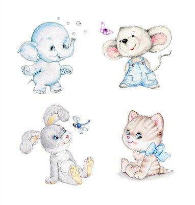 Posters Ensemble d'animaux: éléphant, souris, chaton, lapin