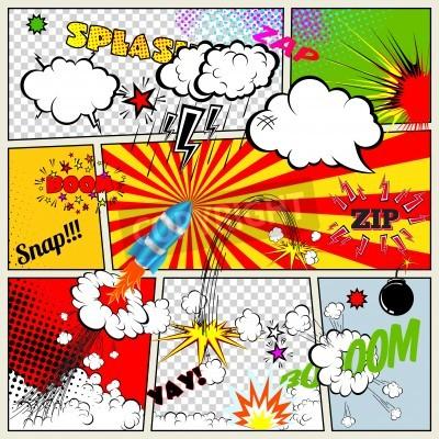 Posters Ensemble d'éléments comiques Retro Vector Design livre, la parole et la pensée Bulles