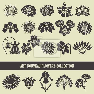 Ensemble d'éléments floraux et silhouettes de fleurs, motifs décoratifs pour l'utilisation dans des cartes d'invitation, ornements, invitations de mariage, etc. Art nouveau