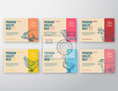 Posters Ensemble d'étiquettes de viande et de volaille de qualité supérieure. Conception d'emballage de vecteur abstrait ou étiquette. Typographie moderne et mise en page de la silhouette des animaux dessinés