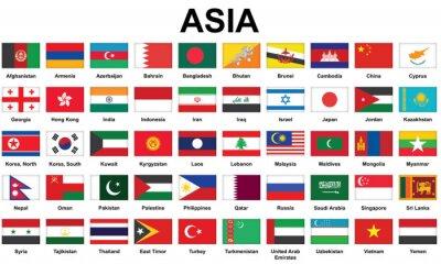 Posters ensemble d'icônes avec des drapeaux de pays asiatiques