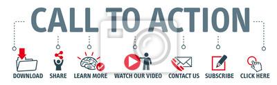 Posters Ensemble d'icônes vectorielles - appel à l'action