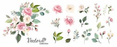 Posters Ensemble de branche florale. Concept de mariage avec des fleurs. Affiche florale, inviter. Arrangements de vecteur pour la conception de carte de voeux ou d'invitation