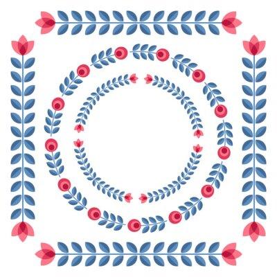 Posters Ensemble de conception éléments - rondes cadres floraux