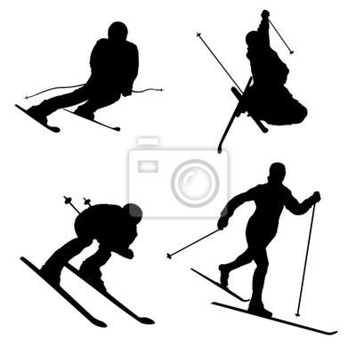 ensemble de différent partie de ski de sports d'hiver 2 de Silhouette