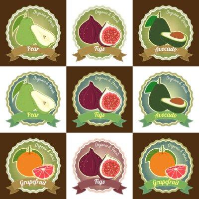 Posters Ensemble de divers fruits frais autocollant badge balise label de qualité premium