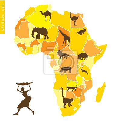 Ensemble de l'Afrique avec la carte et les animaux
