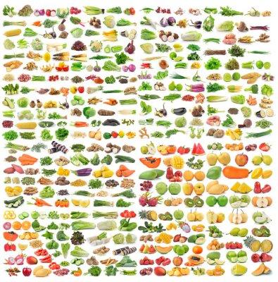 Posters Ensemble de légumes et de fruits sur fond blanc