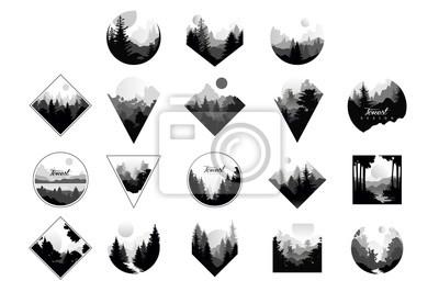 Posters Ensemble de paysages monochromes dans un cercle de formes géométriques, triangle, losange. Paysages naturels avec des forêts de pins sauvages. Vector plate pour logo de société ou logo de camping