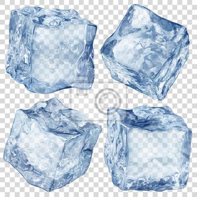 Posters Ensemble de quatre glaçons translucides réalistes en couleur bleue isolé sur fond transparent. Transparence uniquement en format vectoriel