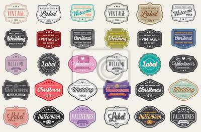 Posters Ensemble de raster d'étiquettes de conception de style vintage rétro