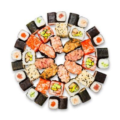 Posters Ensemble de sushi, maki et des rouleaux isolés à blanc