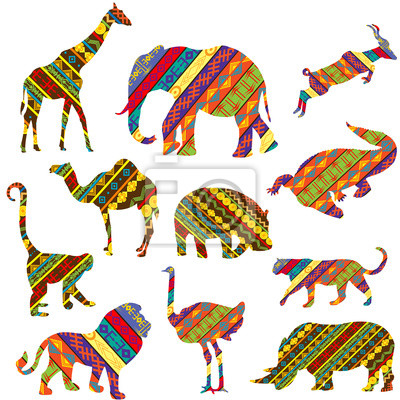 Ensemble des animaux africains en textures ethniques