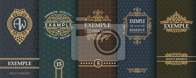 Posters Ensemble exquis de modèles de conception pour l'étiquette et le paquet de whisky