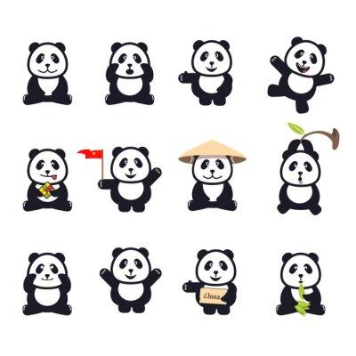 Posters Ensemble, mignon, bande dessinée, Pandas