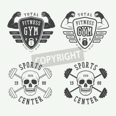 Posters Ensemble, salle de gym, logos, étiquettes, badges, vendange, style