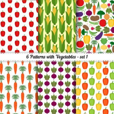Posters Ensemble, seamless, modèles, différent, légumes